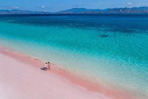 pink beach flores island